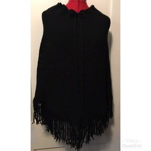 Benetton, Made in Italy, black knit, fringe poncho